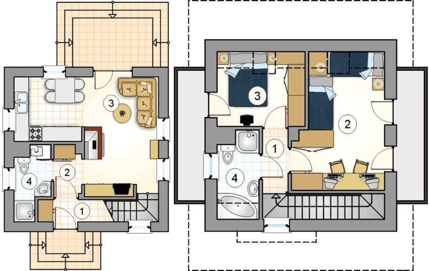 Проект 3. План первого этажа: 1 – прихожая, 2 – коридор, 3 – кухня-гостиная, 4 – ванная. План второго этажа: 1 – коридор, 2 – детская, 3 – спальня, 4 – ванная