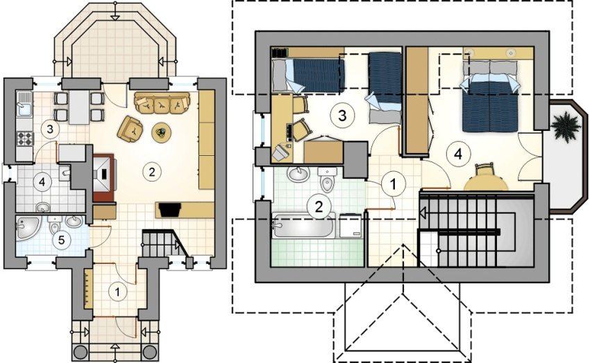 Проект 4. План первого этажа: 1 – прихожая, 2 – гостиная, 3 – кухня-столовая, 4 – кладовая, 5 - ванная. План второго этажа: 1 – коридор, 2 – ванная, 3 – детская, 4 - спальня