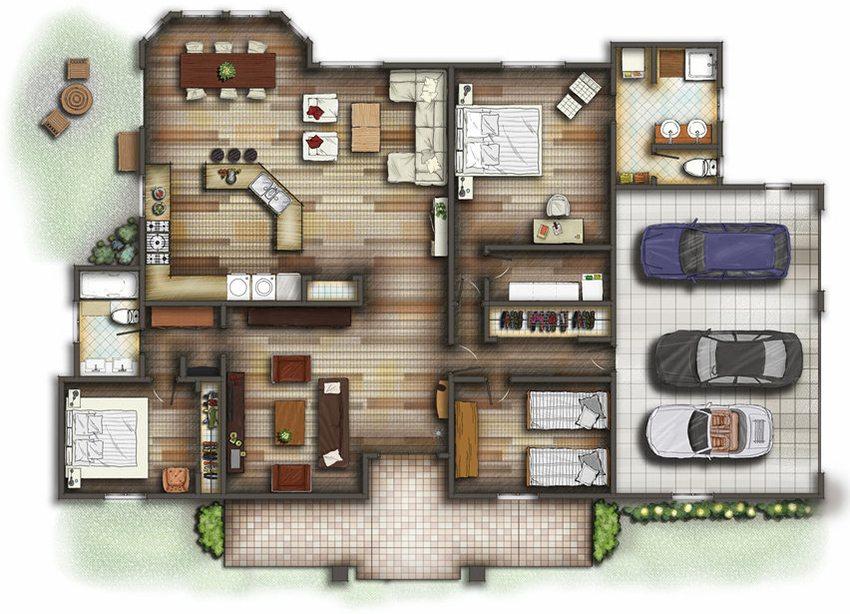 План одноэтажного дома с удобным размещением комнат
