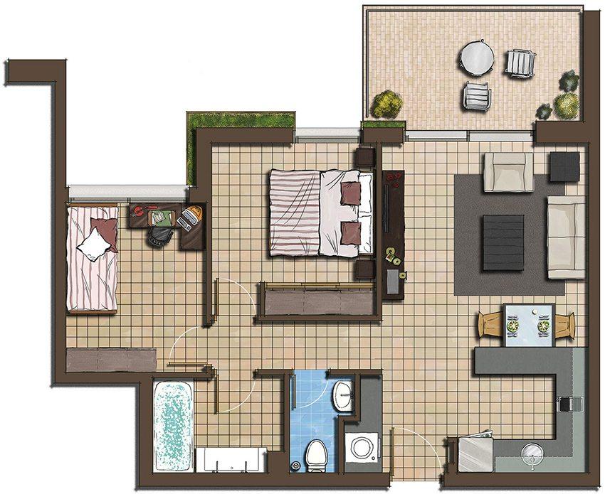 План размещения комнат в доме из бруса с размерами 8 на 8 метров