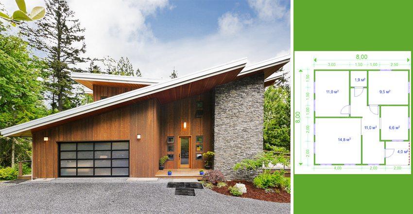 Дом с размерами 8 на 8 можно обыграть красивым внешним фасадом