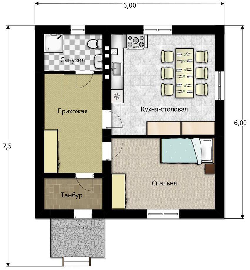 План небольшого дома 6 на 6 метров с расстановкой мебели