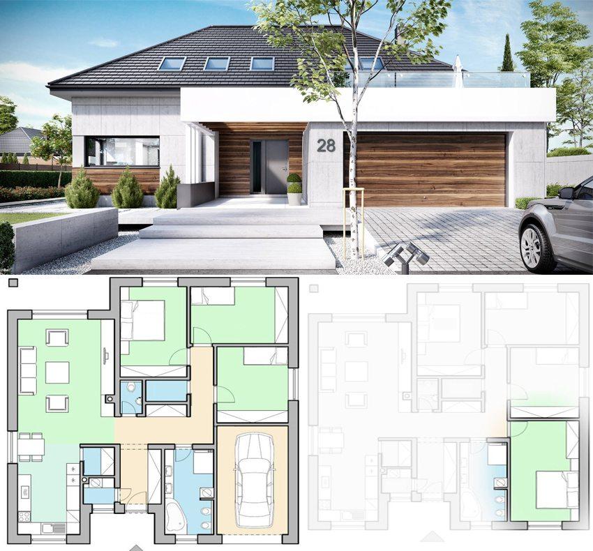 План и визуализация дома 9 на 9 метров с функциональной планировкой