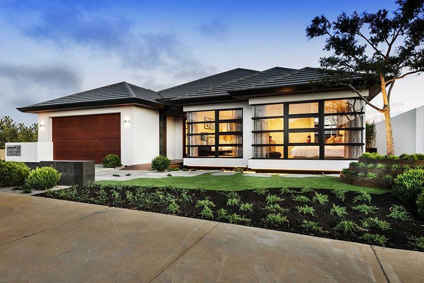 Интересный фасад дома из пеноблоков