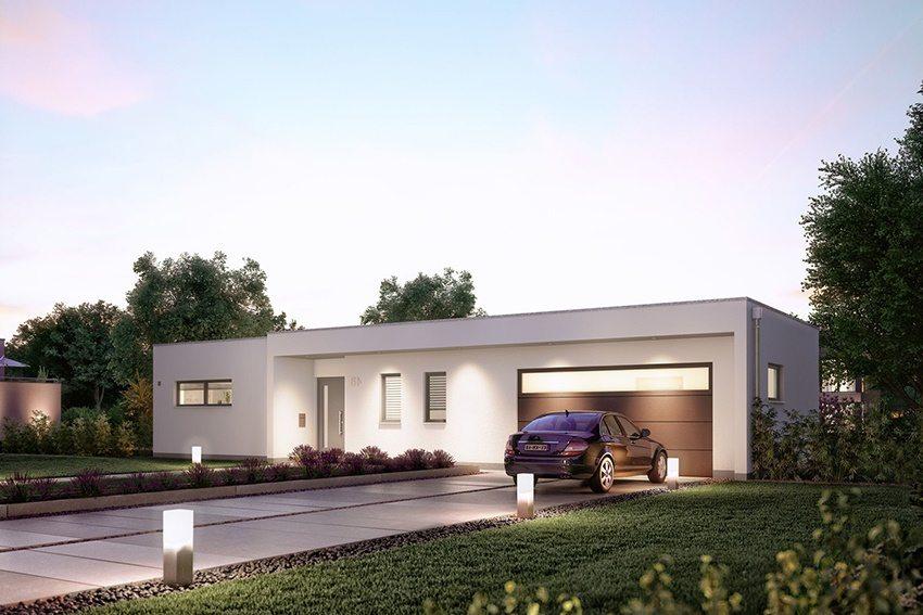 Проект дома из пенобетона с вместительным гаражом под одной крышей