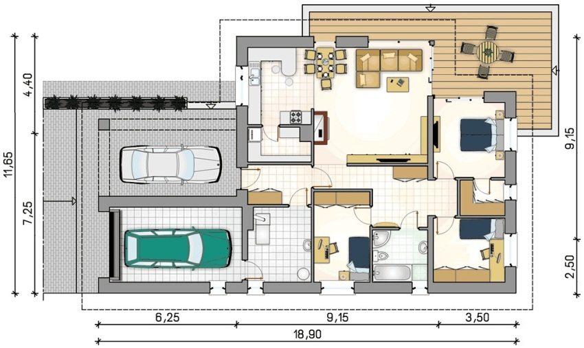 Проект 3. Планировка дома с тремя спальными комнатами
