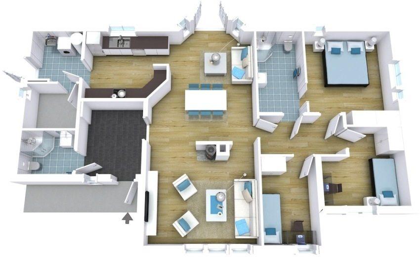 3D-проект одноэтажного дома с двумя санузлами, прачечной и тремя спальнями