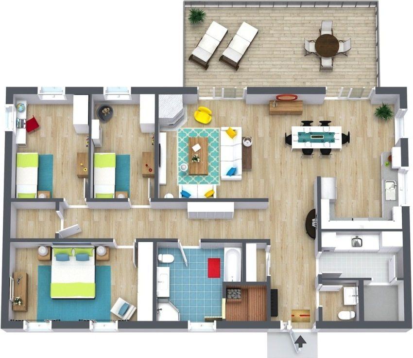 3D-проект одноэтажного дома, включающий спальню родителей и две детские комнаты