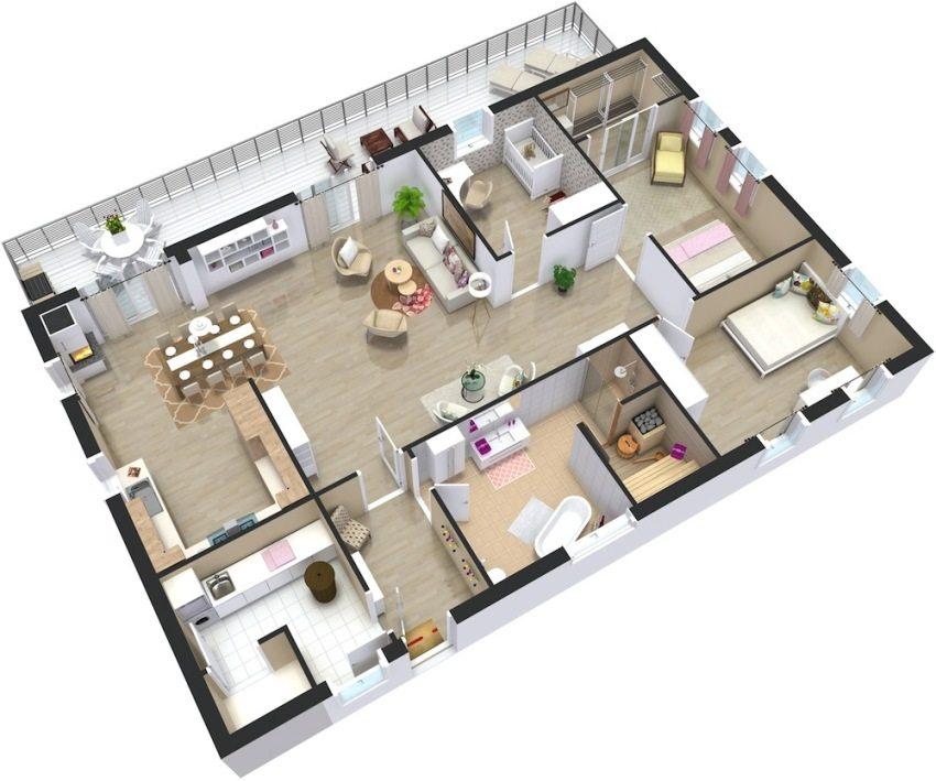Проекты одноэтажных домов с тремя спальнями Удачные