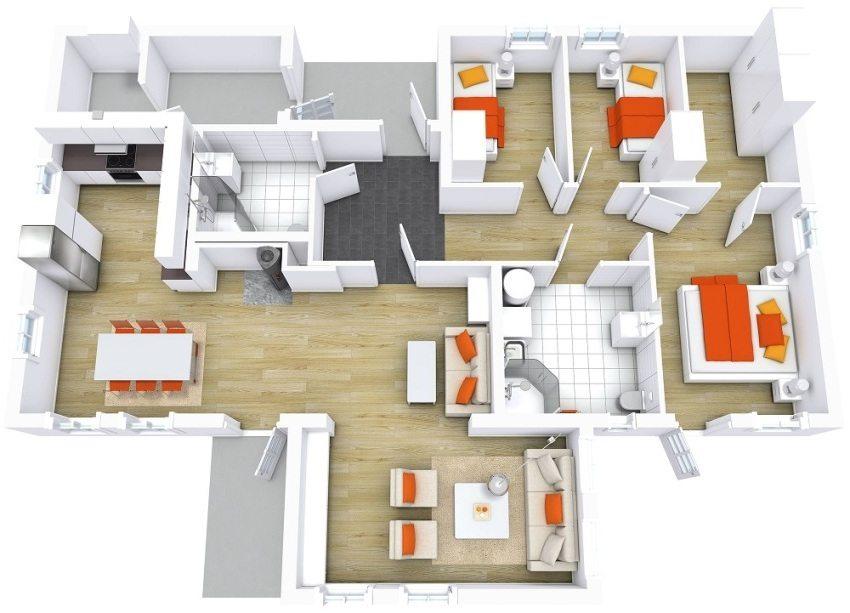 Трехмерный проект дома с грамотным разделением ночной и дневной зон