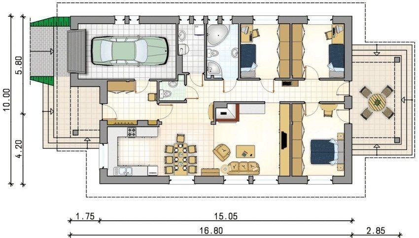 Гараж с комнатой на втором этаже проект