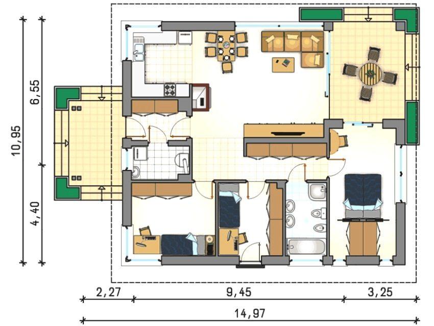 Проект 2. Планировка дома с 3 спальнями и террасой