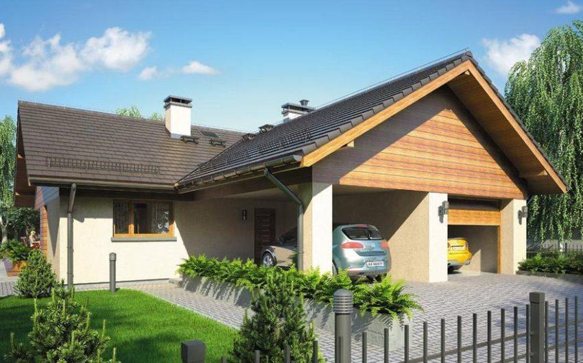 Проект 3. Вид на фасад одноэтажного дома с гаражом и дополнительным парковочным местом