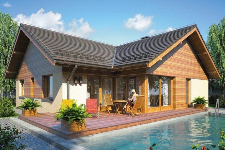 Проект 3. Вид на задний двор с террасой и бассейном
