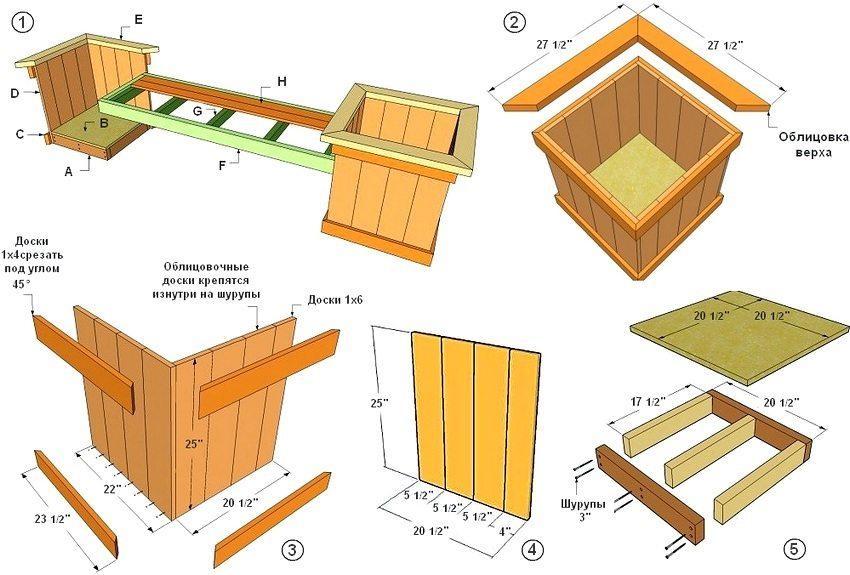 """Рис. 1-1. Схема скамейки с деревянными ящиками для цветов: 1 - устройство скамейки и расчет материалов: А - лаги (доски 2х4 длиной 17 1/2"""" - 6 шт., доски 2х4 длиной 20 1/2"""" - 4 шт.); В - дно ящика (3/4 фанера 20 1/2"""" x 20 1/2"""" - 2 шт.); С - тримы (доски 1х4 длиной 23 1/2"""" - 16 шт.); D - боковые ламели (доски 1х6 длиной 25"""" - 32 шт.); Е - тримы для облицовки верха (доски 2х4 длиной 45"""" - 8 шт.); F - каркас сиденья (доски 2х4 длиной 63"""" - 2 шт., доски 2х4 длиной 17 1/2"""" - 2 шт.); G - поперечные планки (доски 1х2 длиной 17 1/2"""" - 5 шт.); Н - сиденье (доски 1х4 длиной 60"""" - 5 шт.).; 2 - облицовка борта; 3 - установка стенок ящика для цветов; 4 - монтажные размеры стенок ящика; 5 - схема устройства дна ящика для цветов"""