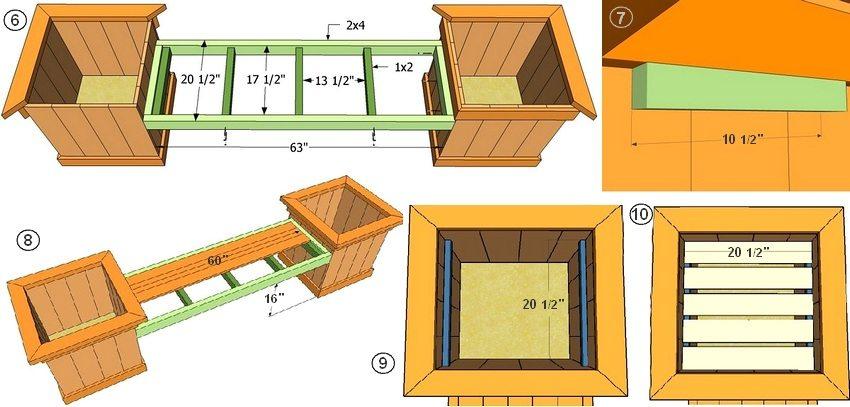 Рис. 1-2. Схема скамейки с деревянными ящиками для цветов: 6 - монтажные размеры каркаса сиденья; 7 - усиление конструкции скамейки; 8 - установка реек сиденья; 9, 10 - монтаж ящика