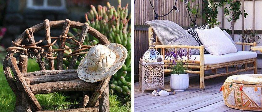Скамейка со спинкой, изготовленная с использованием бревен