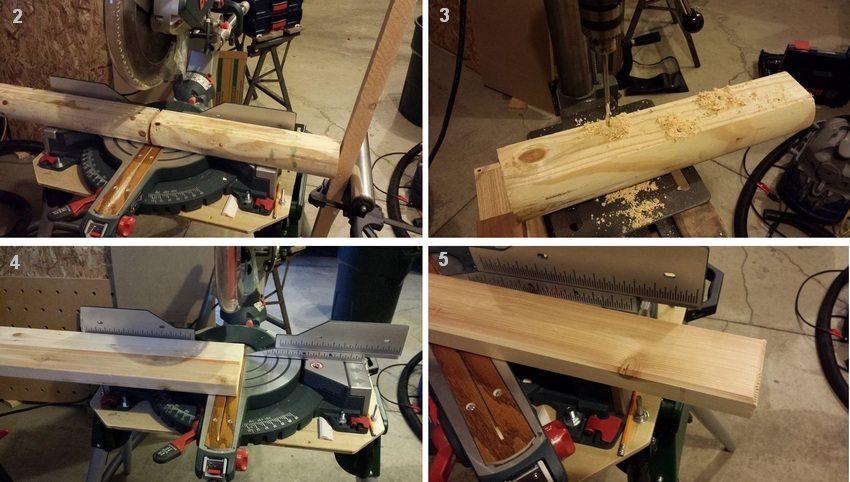 Рис. 3-2. Порядок изготовления простой деревянной лавки: 2 - распил древесины для ножек скамьи; 3 - сверление отверстий в деталях ножек; 4 - подготовка досок для сиденья; 5 - обработка краев деталей сиденья