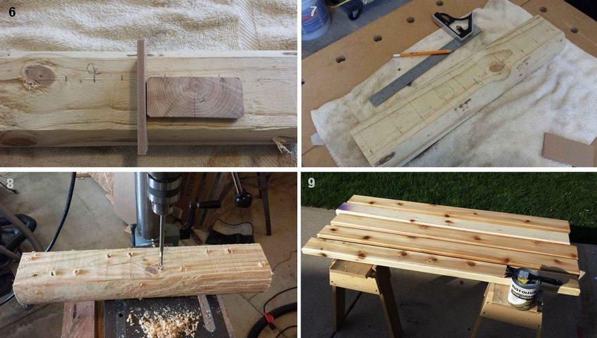 Рис. 3-3. Порядок изготовления простой деревянной лавки: 6, 7 - нанесение разметки на детали ножек; 8 - сверление отверстий в намеченных точках; 9 - нанесение защитного покрытия на детали сиденья