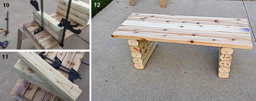 Рис. 3-4. Порядок изготовления простой деревянной лавки: 10, 11 - крепление ножек к сиденью; 12 - вид готового изделия