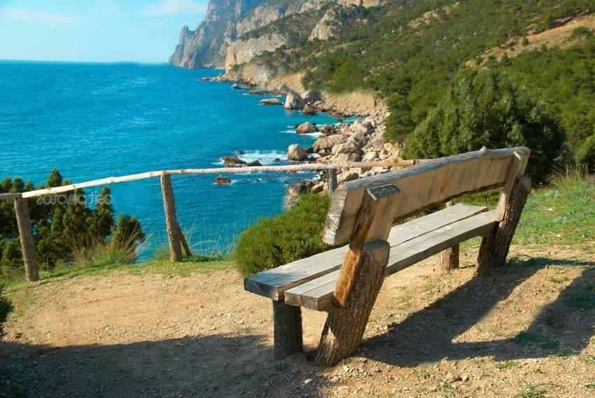 Скамейка со спинкой, изготовленная из бревен и досок