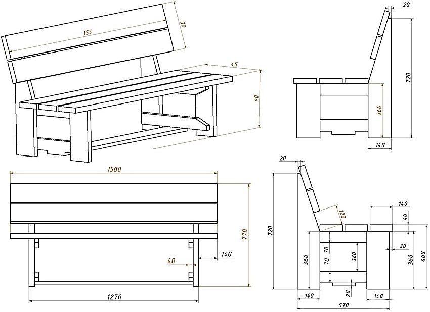 Рис. 4. Чертеж деревянной скамейки со спинкой на две персоны