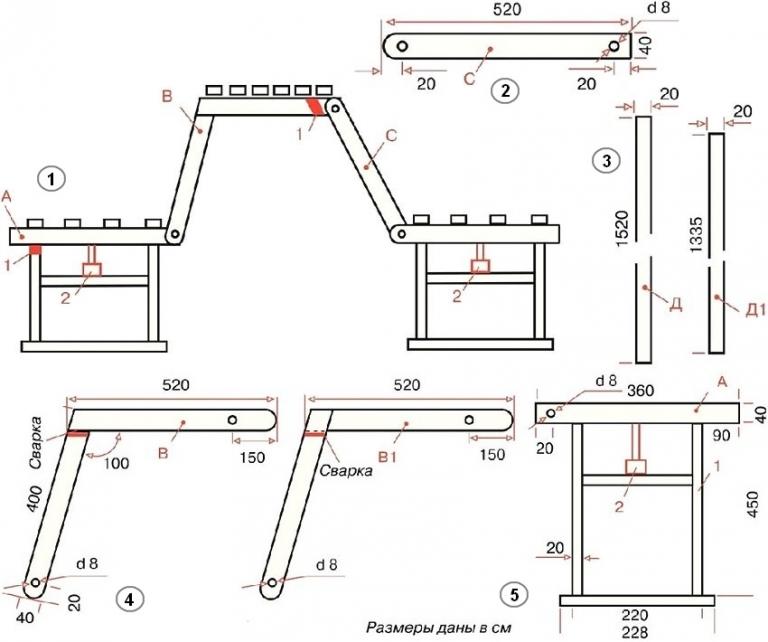 Металлические скамейки для дачи своими руками чертежи