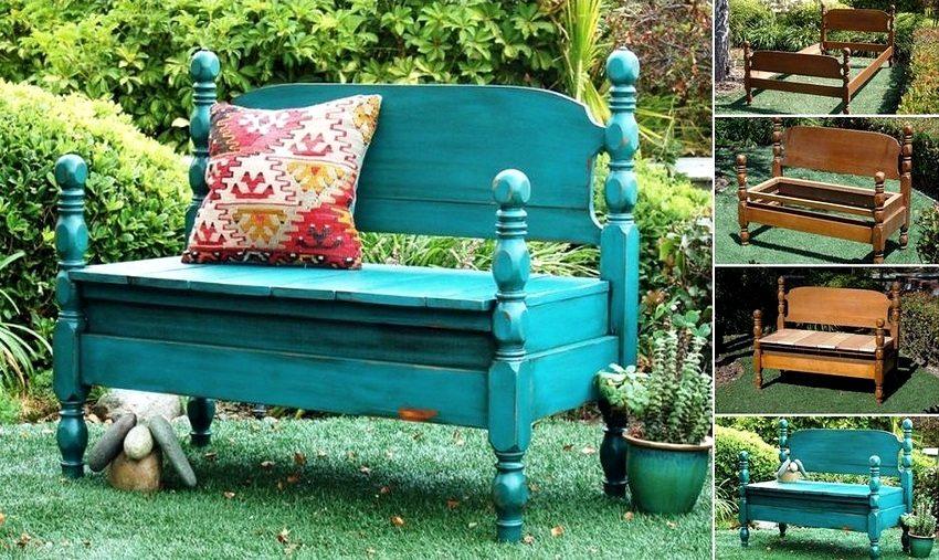 Оригинальная скамейка, изготовленная из старой деревянной кровати