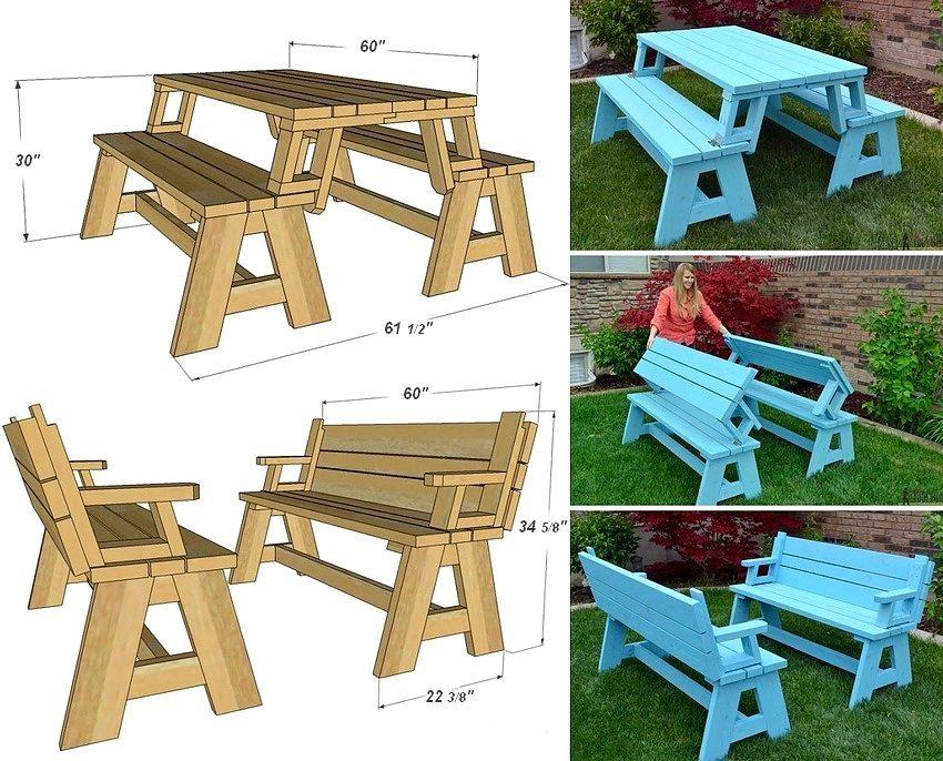 Схема с монтажными размерами скамейки-трансформера