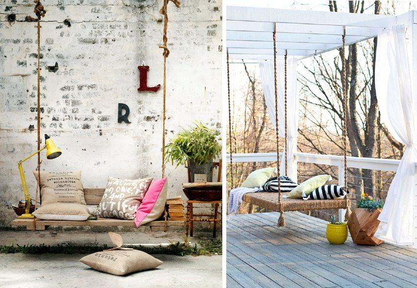 Готовые конструкции можно украшать подушками, пледами и другими декоративными элементами