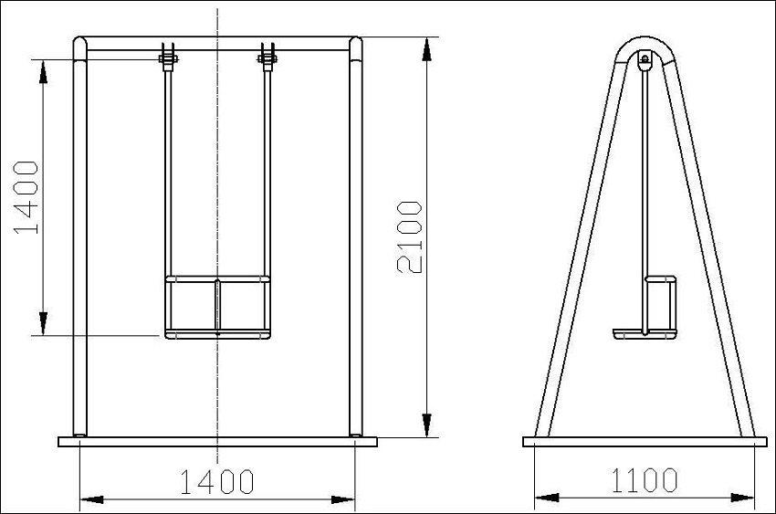 Чертеж деревянных качелей оптимального размера для одного человека