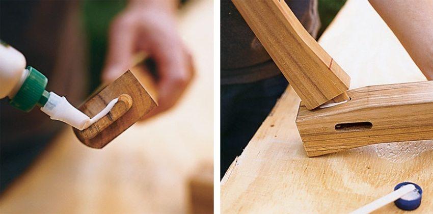 Деревянные качели-скамья, шаг 2: нанесение клея и скрепление деталей между собой