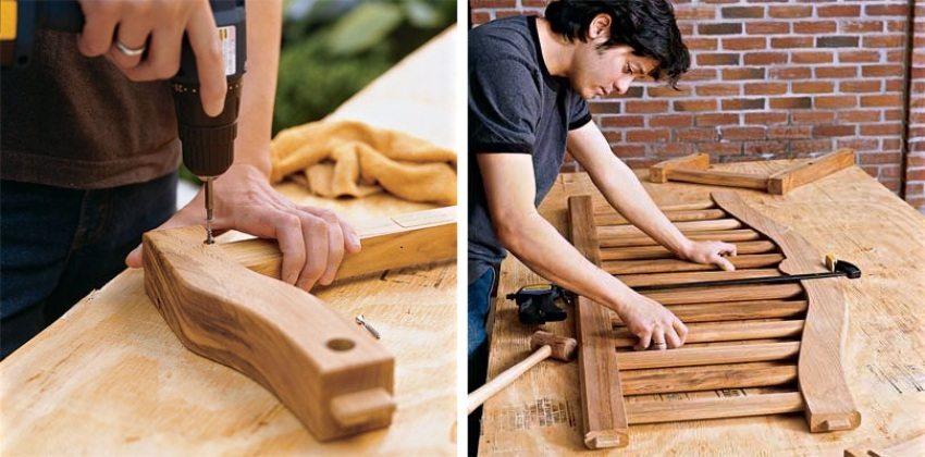 Деревянные качели-скамья, шаг 3: фиксация соединенных деталей саморезами