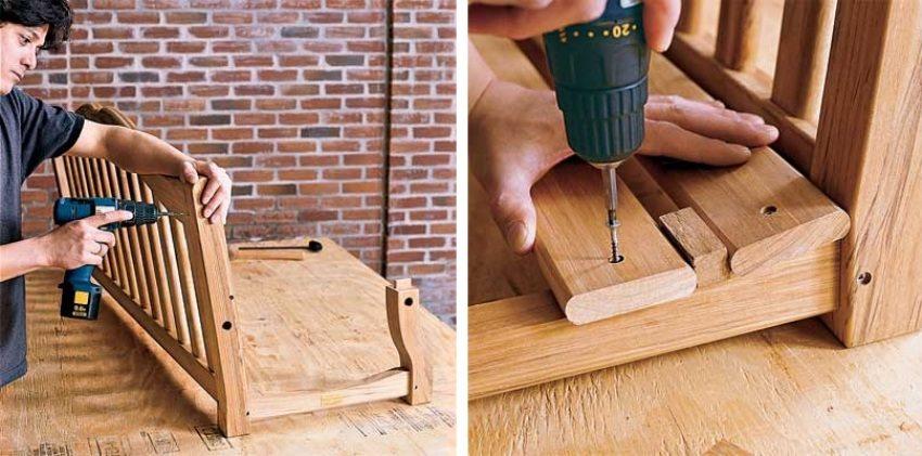 Деревянные качели-скамья, шаг 4: монтаж спинки и сиденья конструкции