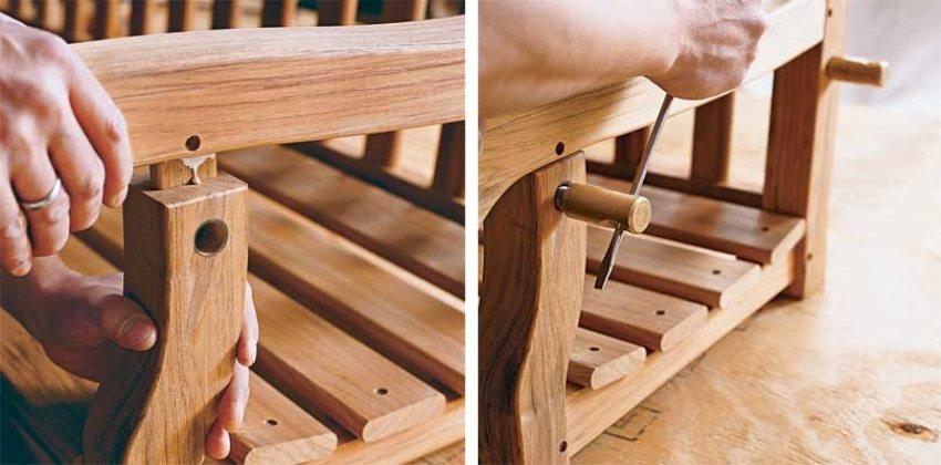 Деревянные качели-скамья, шаг 5: крепление подлокотников