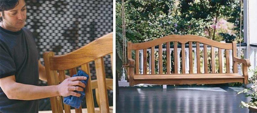 Деревянные качели-скамья, шаг 7: обработка изделия защитными составами