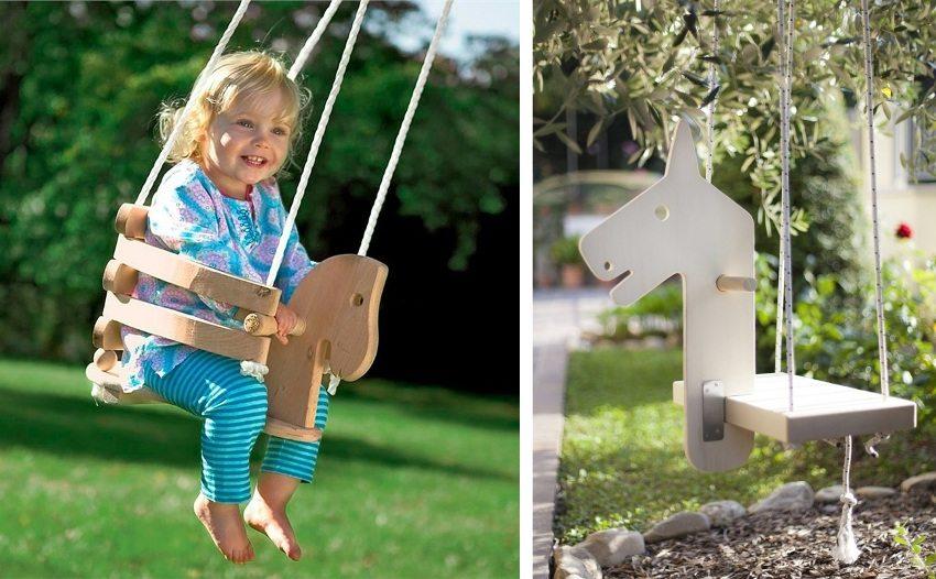 Оригинальные детские качели из дерева в виде лошадки