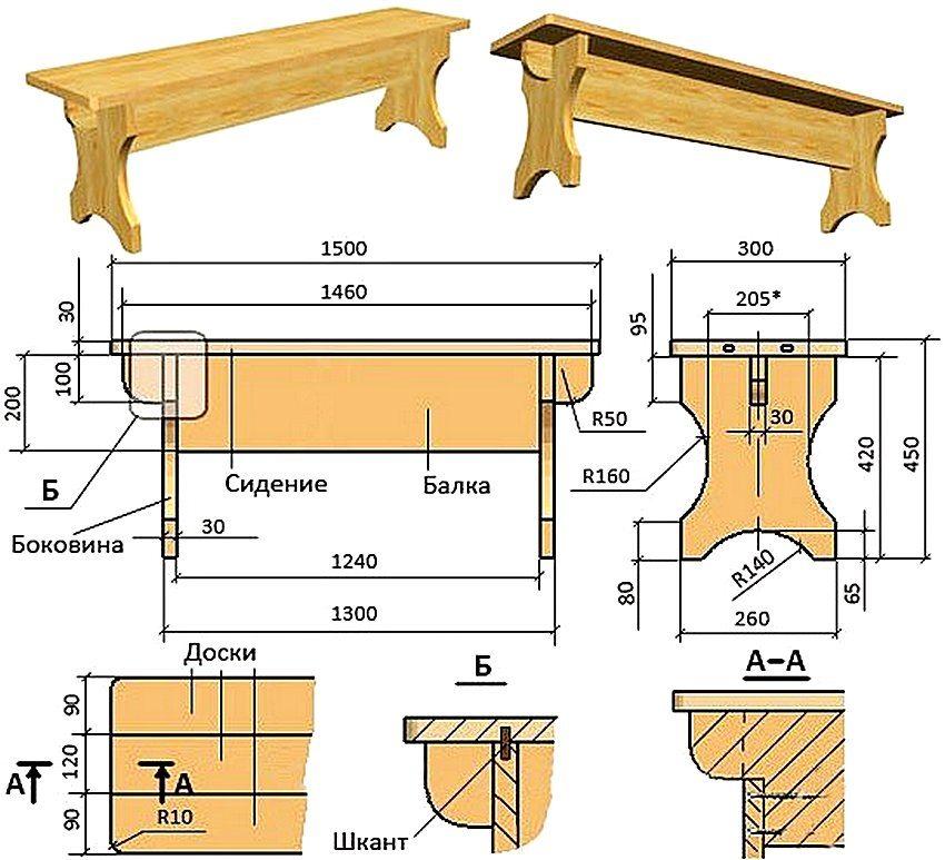 Чертеж простой деревянной лавки для сада