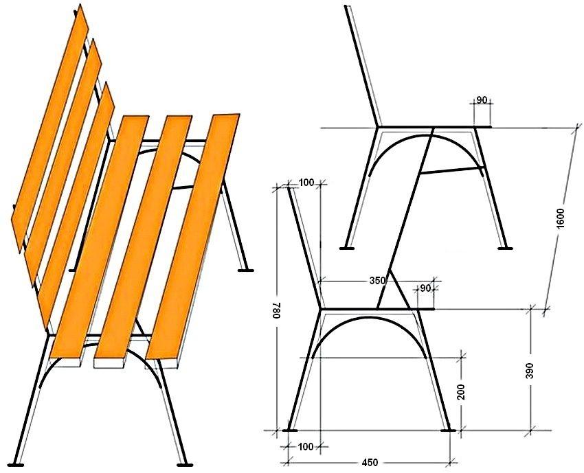 Схема устройства металлического каркаса комбинированной скамейки