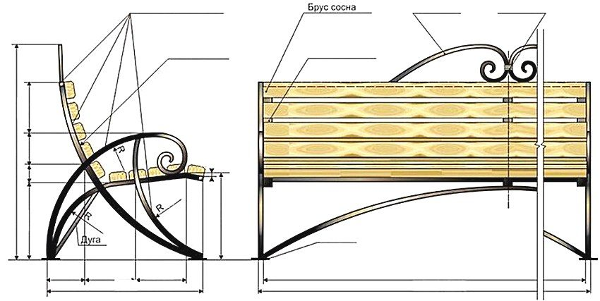 Базовый чертеж садовой скамейки с металлическим каркасом и сиденьем из дерева