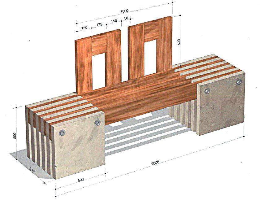 Рис. 1-1. Схема устройства садовой скамейки из дерева и бетонных плит с монтажными размерами