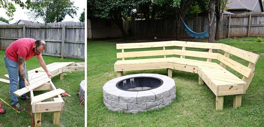 Процесс создания угловой скамейки для зоны отдыха на придомовой территории