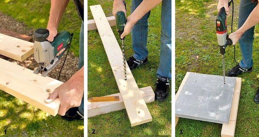 Рис. 1-2. Порядок изготовления садовой скамейки из дерева и бетонных плит: 1 - подготовка деревянных деталей; 2 - разметка досок, просверливание отверстий в них; 3 - разметка бетонных плит, просверливание отверстий в плитах