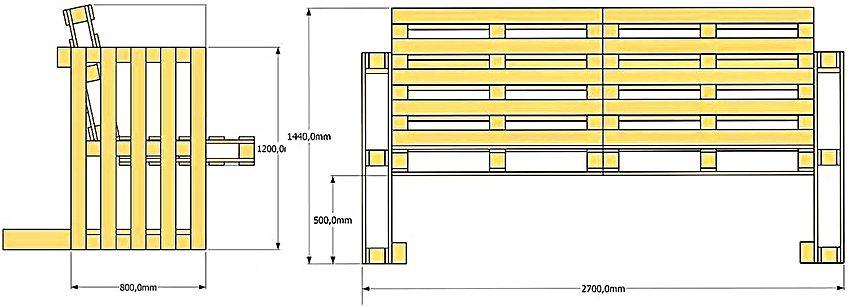 Схема изготовления простой садовой скамейки из палет