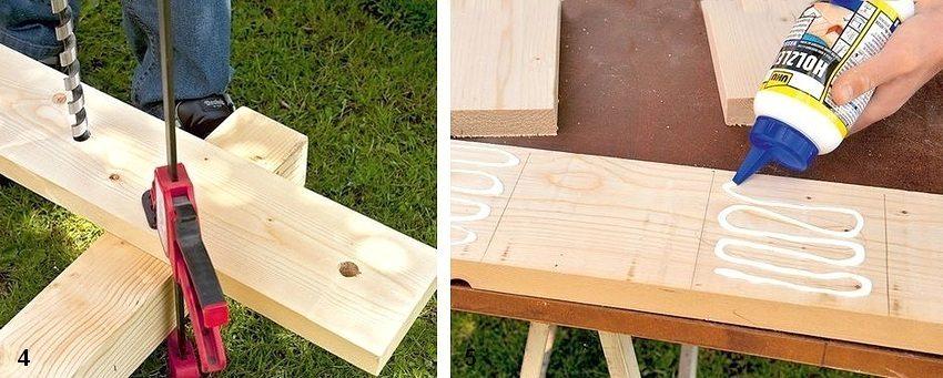 Рис. 1-3. Порядок изготовления садовой скамейки из дерева и бетонных плит: 4 - подготовка деталей спинки к сборке; 5 - нанесение клея