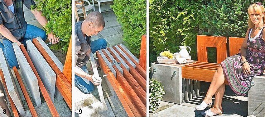 Рис. 1-5. Порядок изготовления садовой скамейки из дерева и бетонных плит: 8 - сборка основной части; 9 - вставка и крепление резьбовых штанг