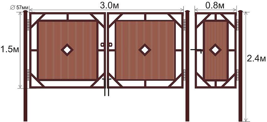 Монтажные размеры распашных ворот и калитки с металлическим каркасом и вставками из профнастила