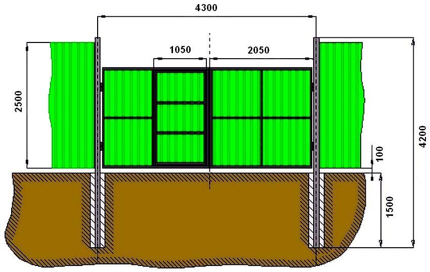 Монтажные размеры ворот из профнастила со встроенной в створку калиткой