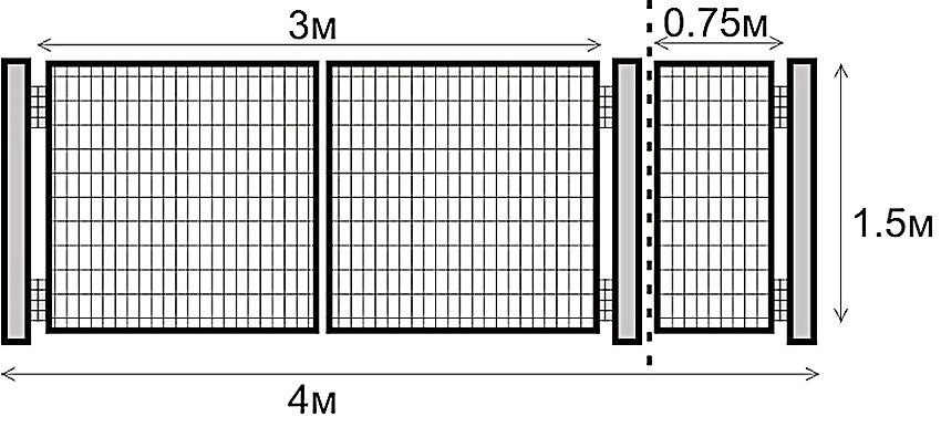 Монтажные размеры распашных ворот и калитки из сварной сетки