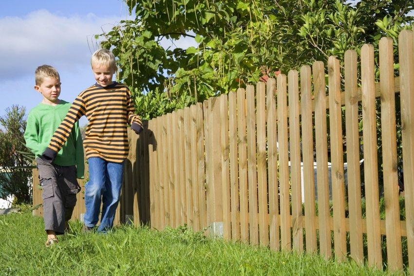 Забор из деревянного штакетника, обрамляющий приусадебный участок
